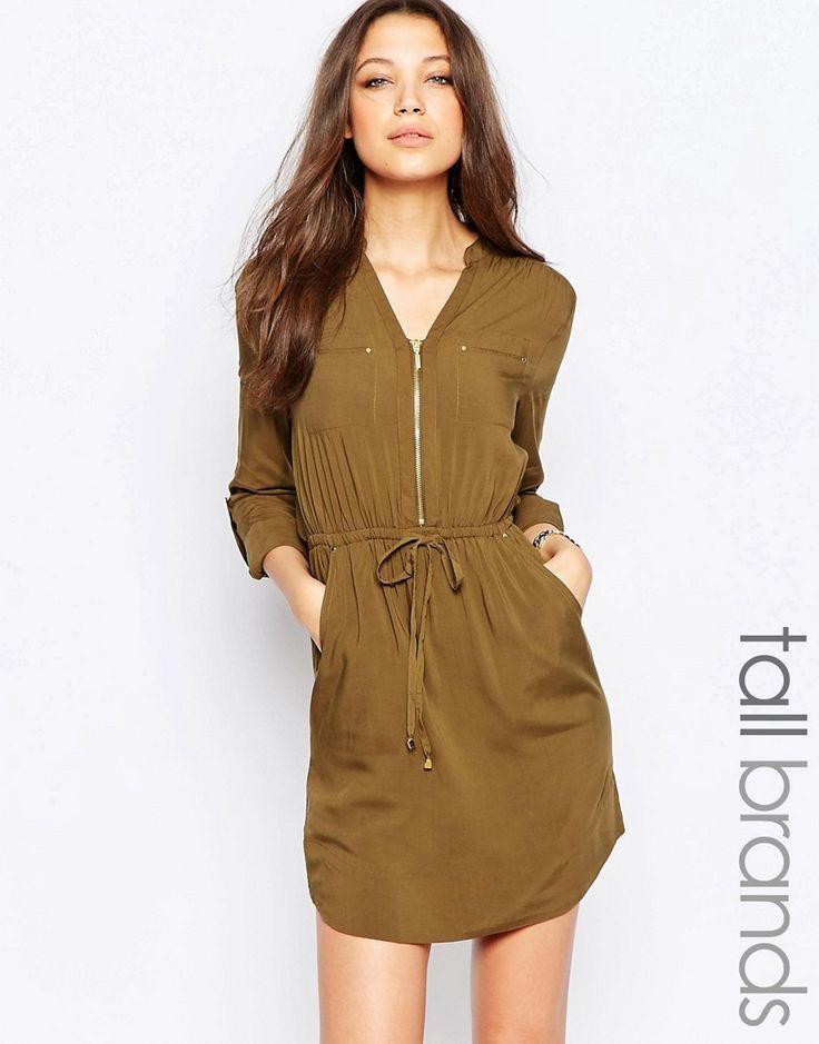 Bild 1 von New Look Tall – Hemdkleid mit 3/4-Ärmeln und Reißverschluss