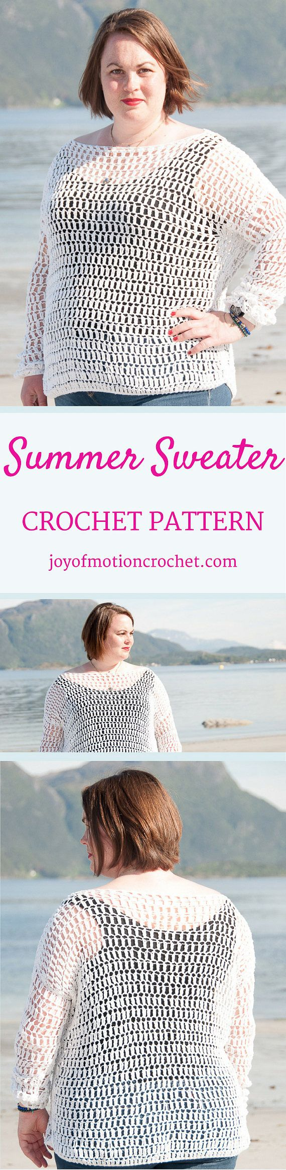 Summer Sweater Crochet Pattern  ★ Crochet pattern for the Summer Sweater, a lacy oversized crochet sweater. ★ Perfect to as a gift or a pattern that will take less than one weekend to make. ★ S – XL. ★ Skill level: EASY ★ Language: English / US crochet terms.  The Summer sweater crochet pattern are a oversized lacy sweater. It's designed with cotton yarn, however if you decide to use wool yarn you can use it all year through. It stitches up quickly, as the stitches are high & the cro...