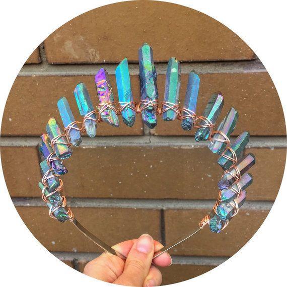 The Sarah  Raw Black aura quartz halo by CrystalEclipseCrowns