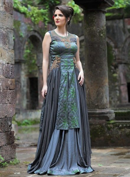 5f47563d9 Grey latest Indian designer prom wear gown for girls