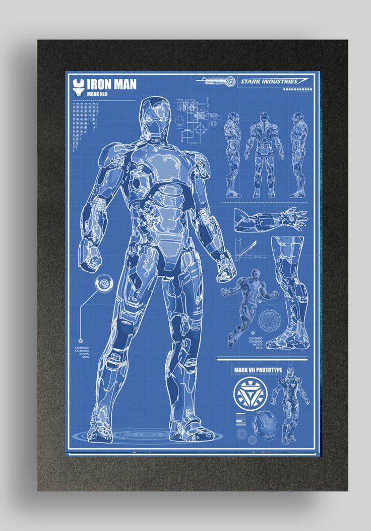 Iron Man Mark 42 Suit Blueprints 16x24 by RyanHuddle on Etsy, $25.00
