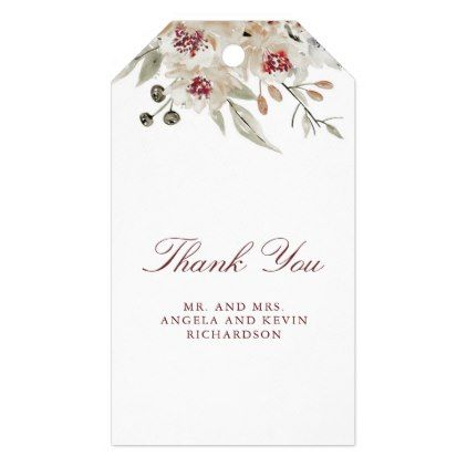 Burgundy and Cream Floral Wedding Gift Tags - home gifts ideas decor special unique custom individual customized individualized