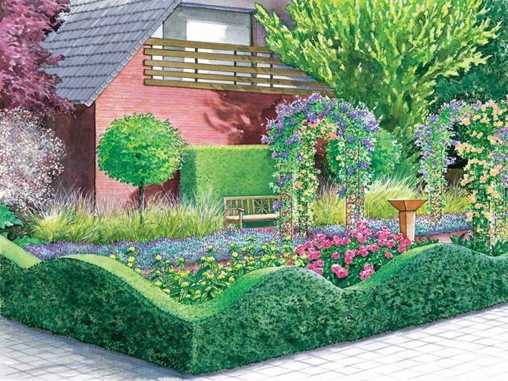 Im Sommer ziehen die mit Clematis und Rosen bepflanzter Rosenbögen alle Blicke auf sich. Die Einfassung aus Gamander ist in einer ungewöhnlichen Wellenform geschnitten