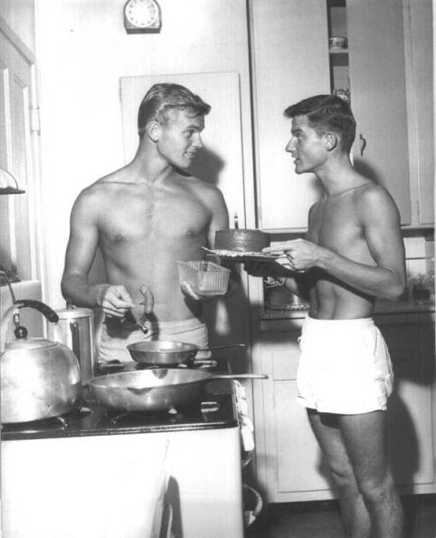 Tab Hunter Roddy MacDowall  cookin in the kitchen!