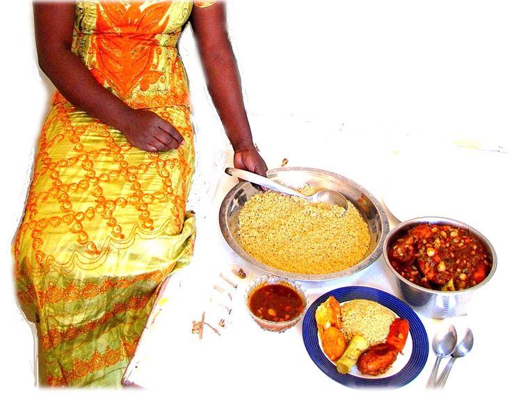 Thièré (millet-flour steamed couscous - couscous avec la farine de mil) served with a chicken and vegetable sauce.
