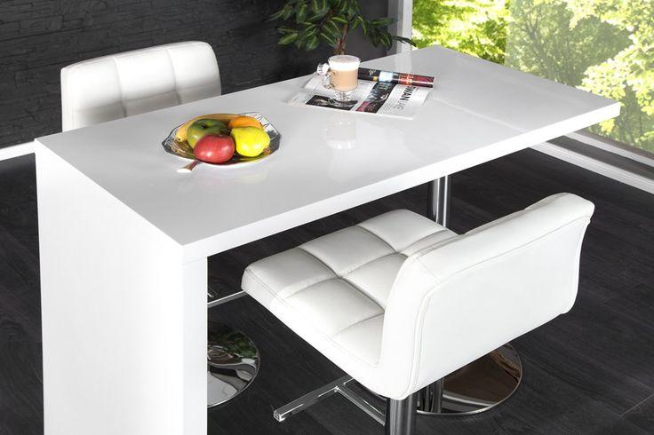 exklusiver bartisch magnus hochglanz weiss chrom amazon. Black Bedroom Furniture Sets. Home Design Ideas