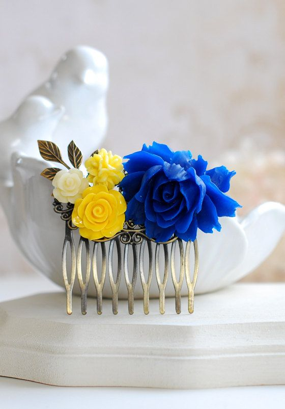Cobalt Blue and Yellow Wedding Bridal Hair Comb. Blue and Yellow Wedding Bridesmaids Gift. This is a beautiful flower collage hair comb that I created