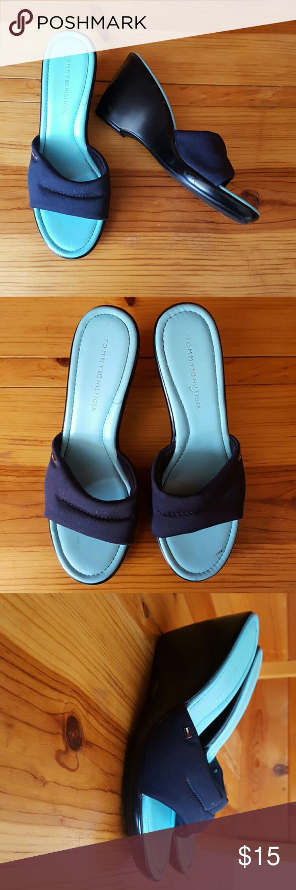 """Tommy Hilfiger Wedged Sandles with 3 1/2"""" heels Tommy Hilfiger blue Canvas wedges Sandler's with 3 1/2"""" heel. Good condition. Tommy Hilfiger Shoes"""