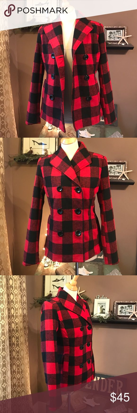 New Rampage Red Buffalo Plaid Peacoat M Brand new without tags and never worn, from this year. I got it for Christmas, but I already have another one that's almost the same exact style, so I'm passing it on. Very soft material, 100% polyester, fully lined in black nylon fabric, double breasted pea coat style, side slit pockets, button belt detail on the back, bright cherry red and black buffalo plaid. By Rampage, size Medium. From a non-smoking pet-free home. Would be really cute with…