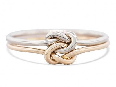 Double love knot gold engagement ring, thick gauge