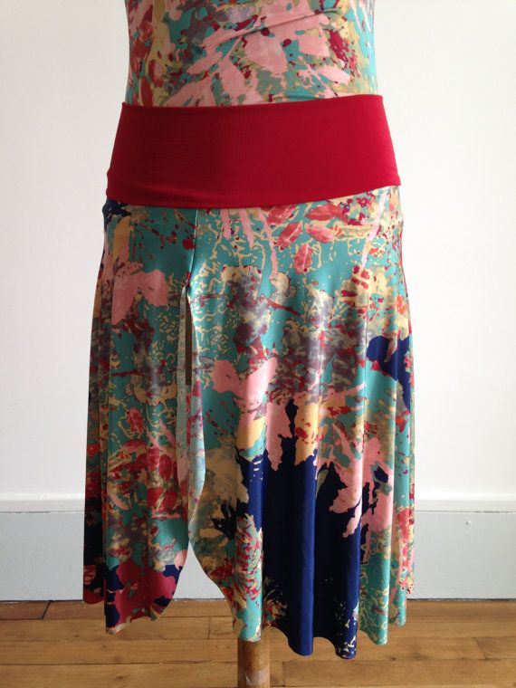 Tango skirt front slit red green and blue by BellaTango on Etsy