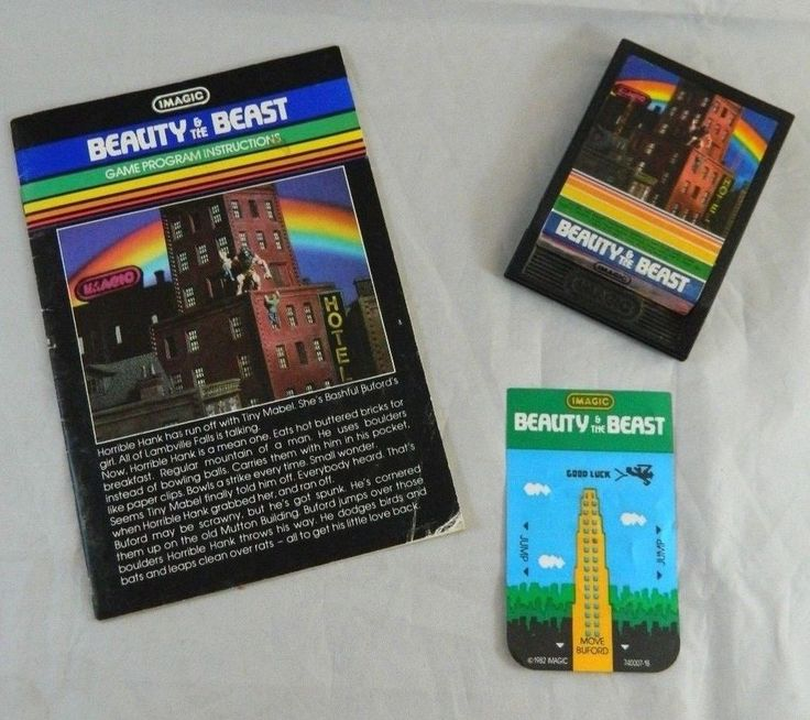 Intellivision BEAUTY and the BEAST Video Game Cartridge Overlay & Manual Imagic