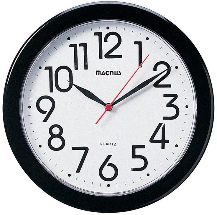 """Dainolite 10"""" Round Black Wall Clock 24103-BK"""