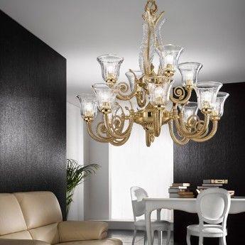 Klasyczna lampa wisząca z serii 918 - producent Possoni. #Possoni #918 #lampy_do_salonu #złoto #mosiądz #oświetlenie #lampy #design #wnętrze #llampy_kraków #abanet_kraków