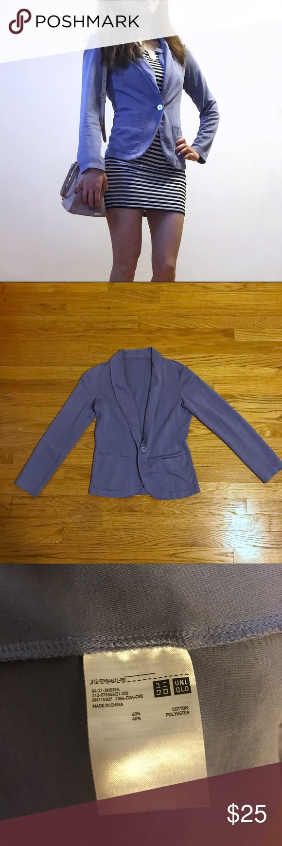 Uniqlo relaxed cotton blazer periwinkle light blue Light summer blazer, perfect for business casual or going out. Worn a couple of times. No defects or wear.  🙅🏻 trades 🙅🏻offline transactions Uniqlo Jackets & Coats Blazers