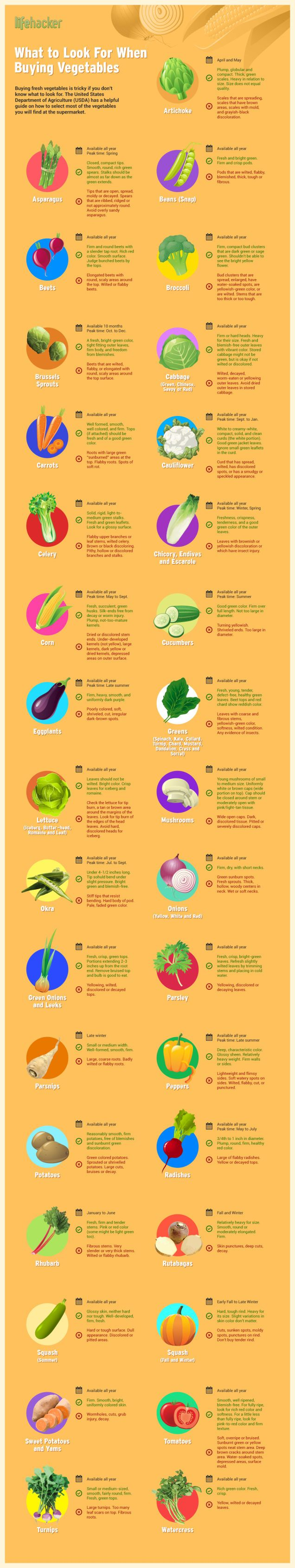 Can't tell which tomatoes are ripe or if that lettuce is fresh? This infographic tells you what to look for when buying vegetables