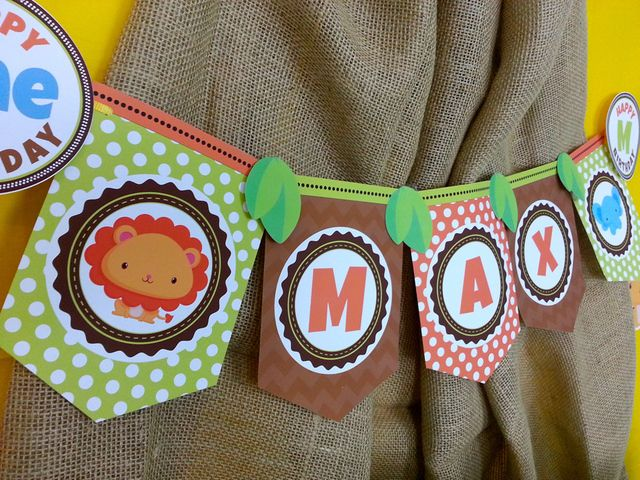 Themed banner at a Jungle Safari Birthday Party! See more party ideas at CatchMyParty.com!