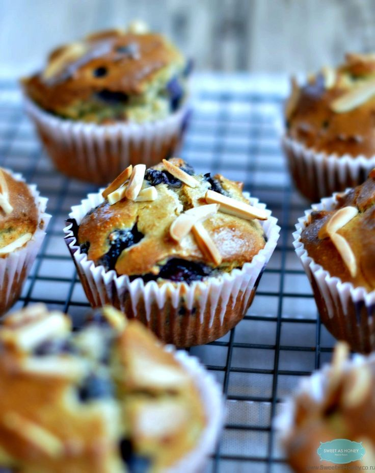 Only 2.8 g of sugar for each of this blueberry and Almond Muffins. Refined sugar free. Naturally sweetened with liquid honey.