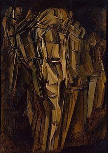 Marcel Duchamp - Marcel Duchamp, Nude (Study), Sad Young Man on a Train (Nu [esquisse], jeune homme triste dans un train), 1911–12, oil on cardboard mounted on Masonite, 100 x 73 cm (39 3/8 × 28 3/4 in), Peggy Guggenheim Collection, Venice. This painting was identified as a self-portrait by the artist. Duchamp's primary concern in this painting is the depiction of two movements; that of the train in which there is a young man smoking, and that of the lurching figure itself.