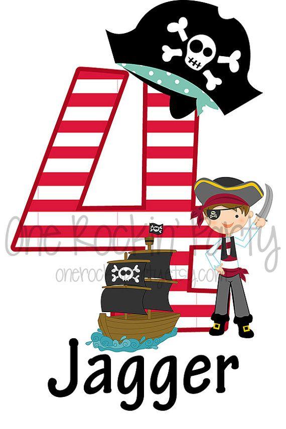 Pirate Birthday Shirt - Personalized Boy or Girl - Birthday - Iron On