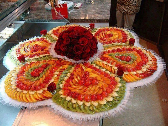 Fruit decoration ideas flower fruit salad from home for Apples for decoration