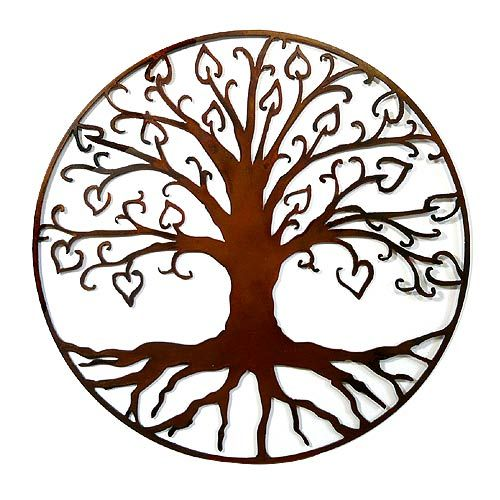 "Handcrafted Tree of Life with Hearts Outdoor Wall Art: Rust Finish.  The beloved symbol of the Tree of Life is adorned with sprouting heart-shaped leaves, a contemporary portrayal of family and affection that livens up any outdoor wall! Made in North Carolina, the 24"" wall hanging is cut from steel and is available in two finishes: rust and black."