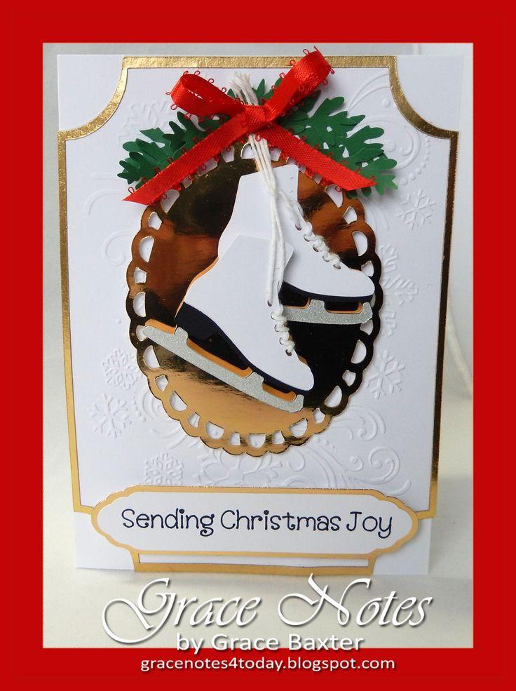 Elegant Ice Skates send Christmas Joy. Created from nostalgic memories of sisters spending endless hours skating. #CricutChristmasCards #CardIdeas #SkateCard #PoetrybyGraceBaxter