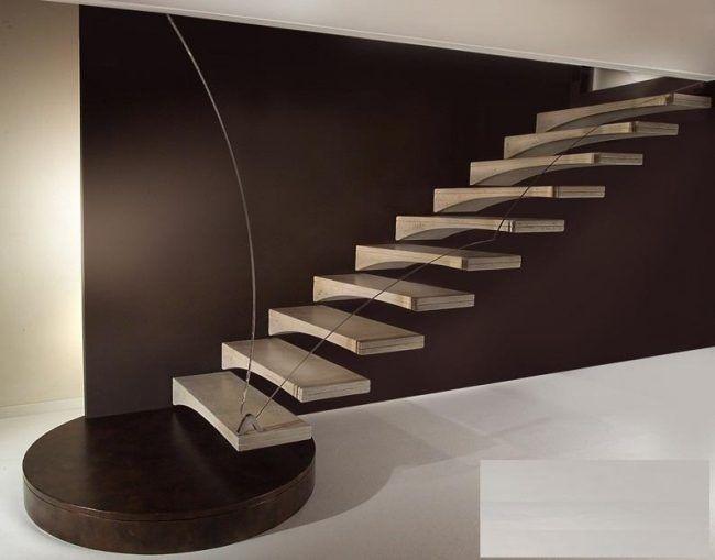 Moderne Treppen Designs Schwebende Holz Stufen Stahlseilen