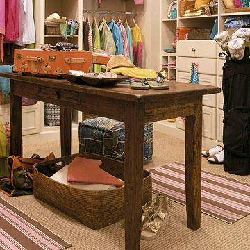 Really?  closets this big?: Tables Closet, Idea, Walk In Closet, Closet Lol, Outfits Together, Tall Table, Closet Tables, Closet Storage, Extra Closet