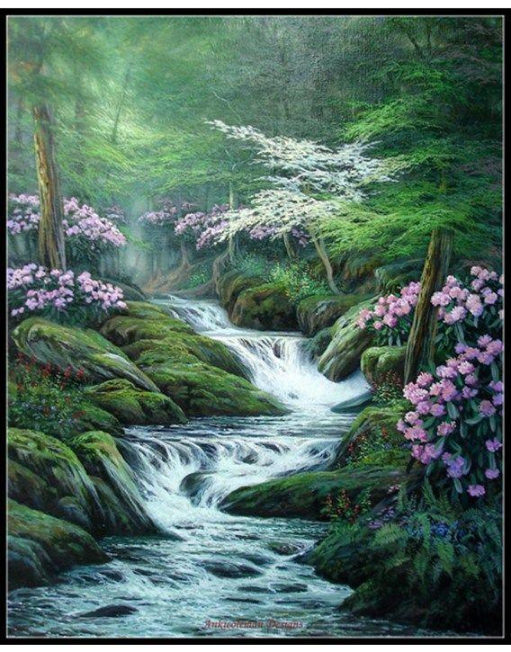 Appalachian Waterfall Counted Cross Stitch Patterns Waterfall Paintings Landscape Paintings Waterfall Art