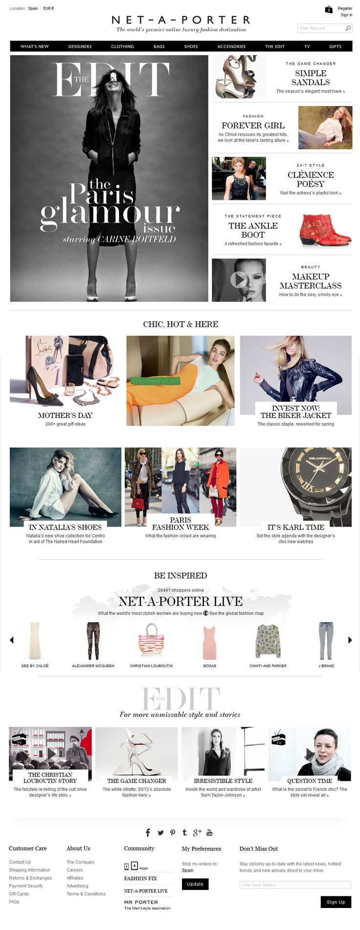 Net-A-Porter redesign. Web Graphic Design. Mockup. Fashion. Layout.