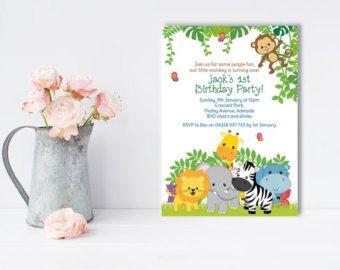 Invitación de la selva invitación de Safari mono por DellaEvents