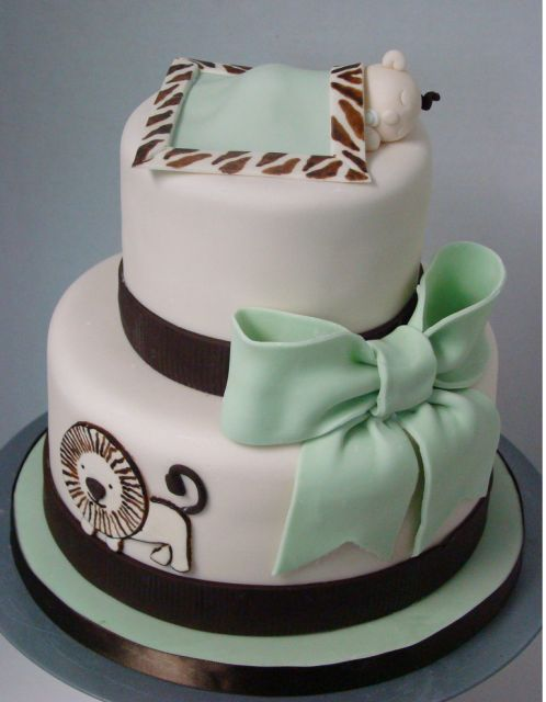 baby shower cakes | Safari baby shower cake in white, light green and dark brown with baby ...