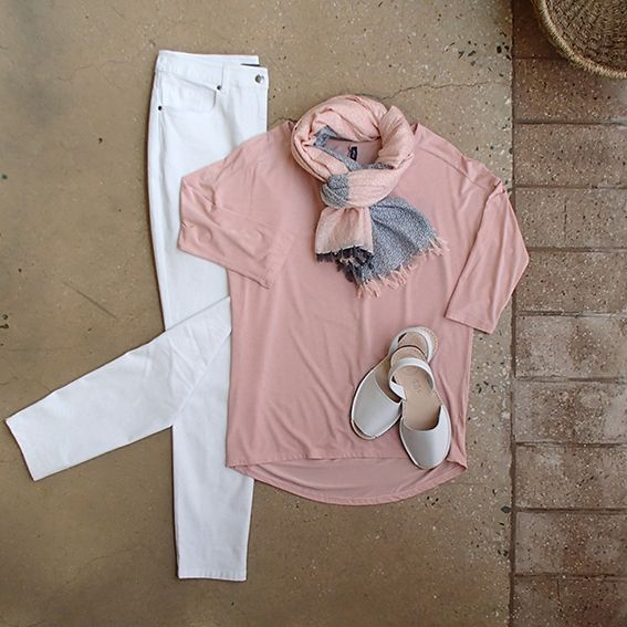 White skinny leg Saints & Lovers jeans are a classic! Add some Pantone colour of the year (Rose Quartz) and relax in Wyse micromodal top, white Alohas sandals & Humidity scarf