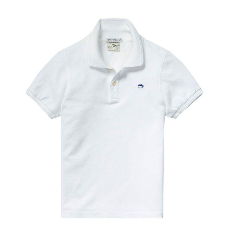 Scotch & Soda - Polo Piquè Off White - Polo in piqué di cotone tinta in capo off white della collezione abbigliamento bambini e ragazzi firmata Scotch & Soda. #shoponline #annameglio #scotch&soda #abbigliamentobambini