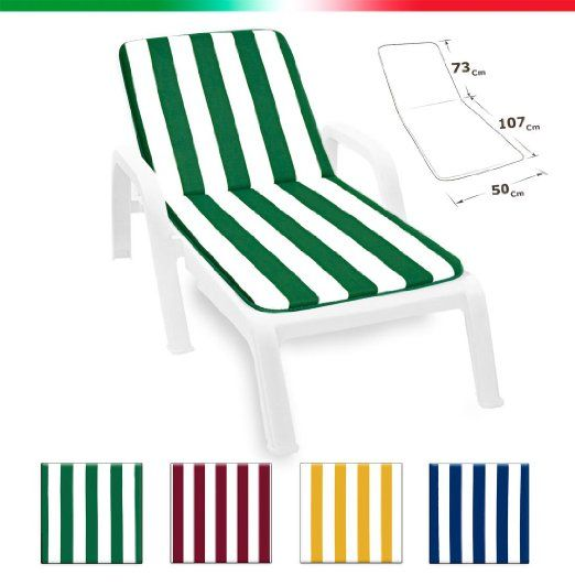 Cuscino copri sdraio LETTINO piscina mare giardino tessuto in cotone 100% MADE IN ITALY UNIVERSALE mod.LIMA (BLU)