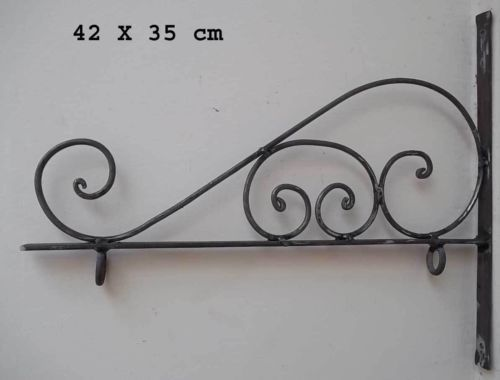 Rustic Hand Forged Iron Sign Wall Mount Bracket Lanterns Lamps Hangers Holder