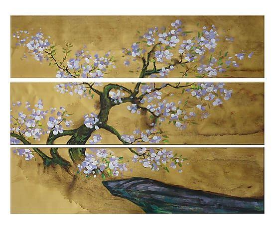 Set de 3 cuadros pintados a mano Primavera giapponese - 100x30 cm