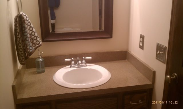 diy bathroom countertop makeover with rustoleum 39 s stone. Black Bedroom Furniture Sets. Home Design Ideas