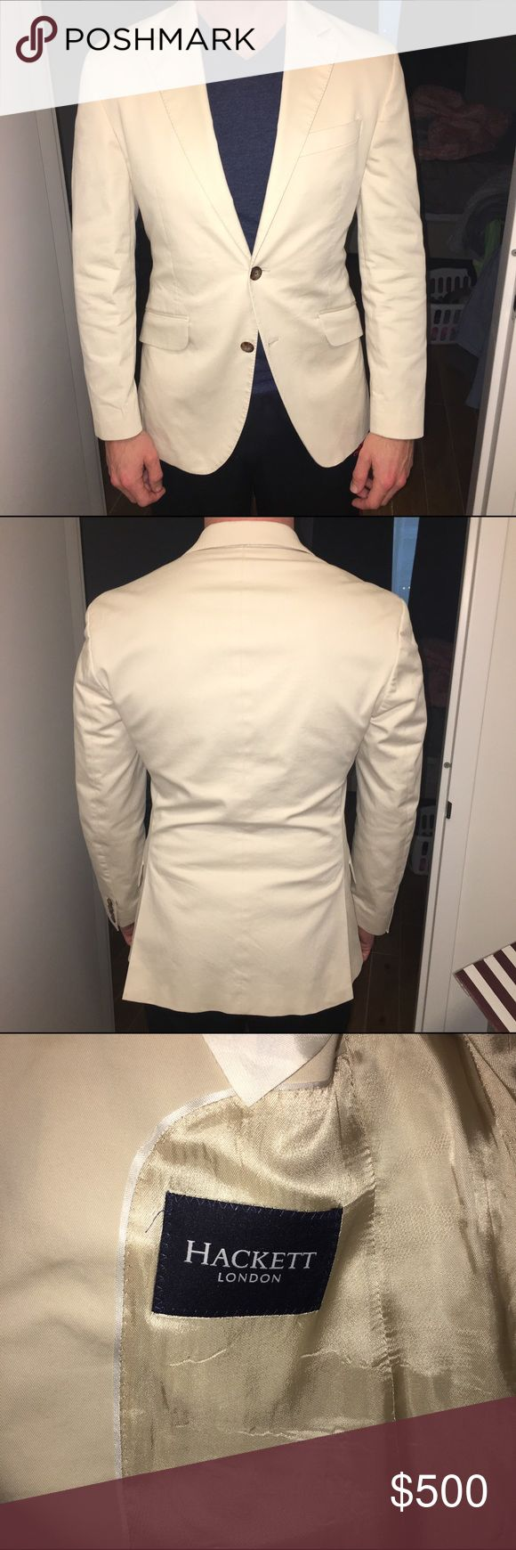 "Hackett London Blazer. Size 38R Hackett London Blazer. Size 38R. Cream/Beige color. Cotton Blazer. Purchased at Regent Street Flagship store in London. Like New. Worn three times. In amazing condition. Blazer was tailored to have a slim look. 5'9"" and 160 lbs. Hackett Suits & Blazers Sport Coats & Blazers"