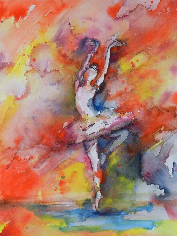 Ballerina Ballet Dancer Print Ballet Watercolor by AngelicbyJones, $18.00