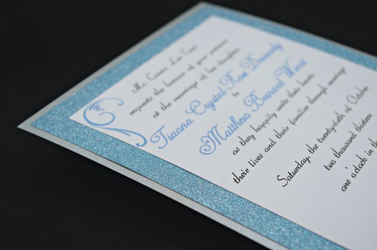 Stunning Blue  Silver Wedding Invitation Full of Bling, Sparkle, and Dazzle. $2.55, via Etsy.