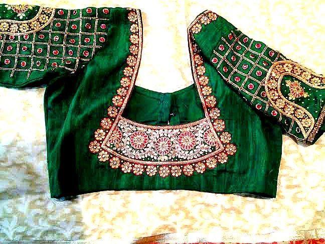 kundan work bridal blouse back design