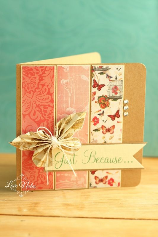 handmade card ... pleated butterfly ... kraft base with three panels of coordinating patterned papers ... delightful and earthy look ...