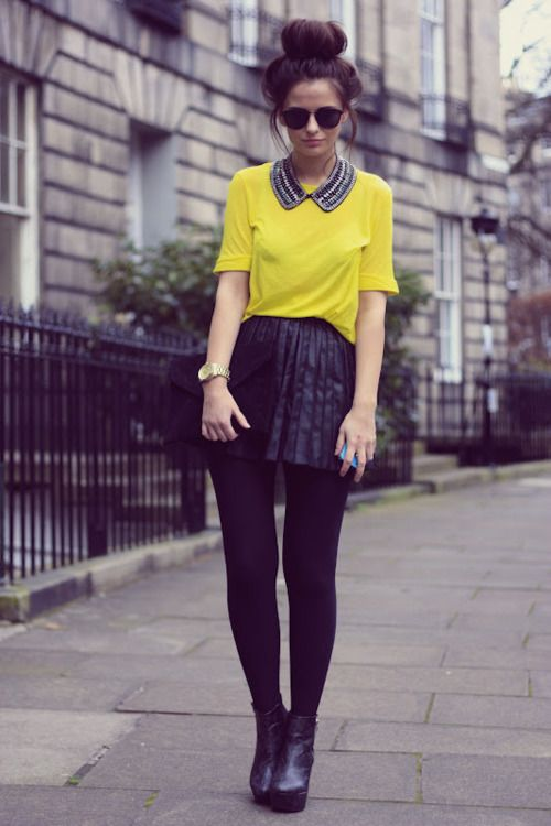 love the pop: Black Leather Skirts, Rocks Chairs, Dresses Up, Current Fashion Trends, Color, Street Style, Outfit, Collars Necklaces, Yellow Black