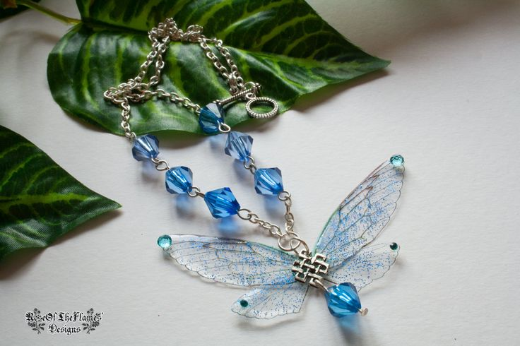 Fairy necklace pendant jewelry. Blue glitter necklace jewelry. Fairy wings necklace jewelry. Fantasy necklace jewelry. Dream necklace - pinned by pin4etsy.com