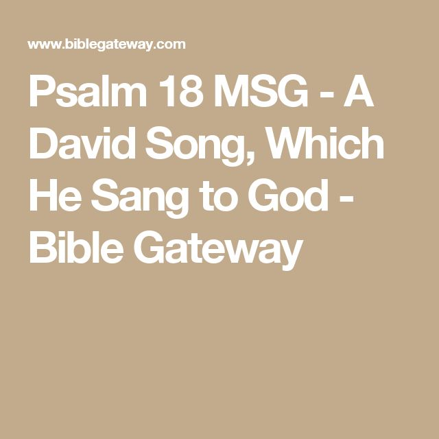 Psalm 18 MSG - A David Song, Which He Sang to God - Bible Gateway