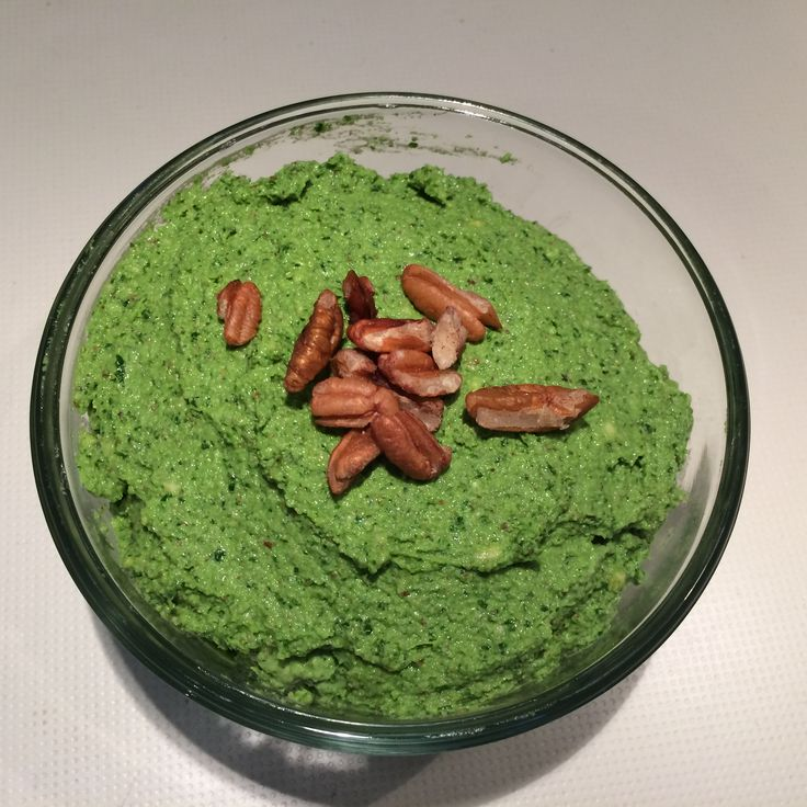 Kale Pesto: Kale, basil, lemon juice, walnuts, cashews, salt, pepper and lemon juice. (garlic optional).