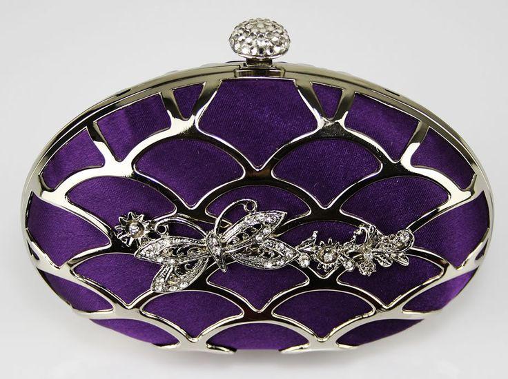 Purple Crystal Encrusted Diamante Hard Case Evening Clutch Bag