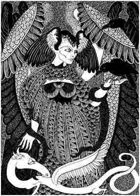 Ereshkigal- Babylonian/Sumerian queen of the underworld. When Ishtar/Innana descended into the underworld to rescue her lover, Ereshkigal required her to leave a garment at each of the seven gates.